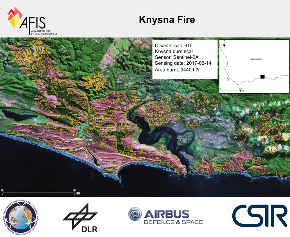 Using satellite images to determine the Garden Route burn scar | CSIR